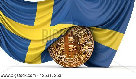 Sweden Flag Draped Over A Bitcoin Cryptocurrency Coin. 3d Rendering