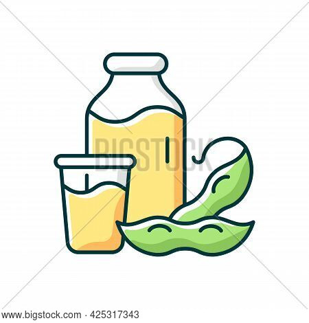 Soy Milk Rgb Color Icon. Isolated Vector Illustration. Plant Based Milk. Grinding Beans. Vegeterian