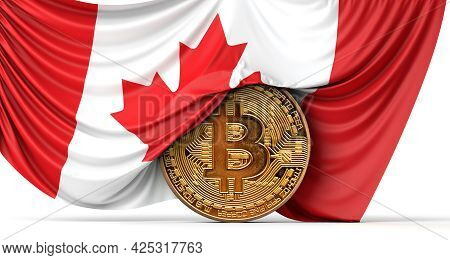 Canada Flag Draped Over A Bitcoin Cryptocurrency Coin. 3d Rendering