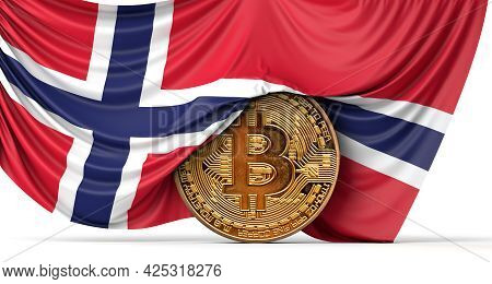 Norway Flag Draped Over A Bitcoin Cryptocurrency Coin. 3d Rendering