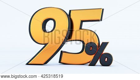 3d Render Of Discount Ninety Five 95 Percent Off Isolated On White Background