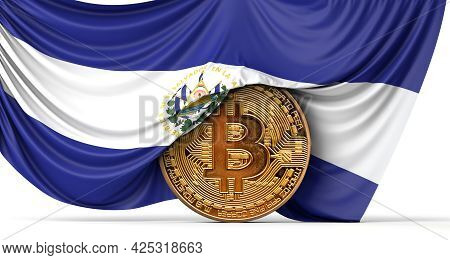 El Salvador Flag Draped Over A Bitcoin Cryptocurrency Coin. 3d Rendering