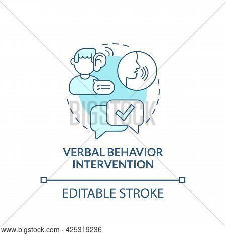 Verbal Behavior Intervention Concept Icon. Autistic Behavior Correction Abstract Idea Thin Line Illu