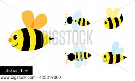 Happy Cartoon Bee Flying. Collection Abstract Simple Bees.