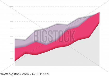 Abstract Financial Paper Chart With Three Curve Go Upward. Modern Design