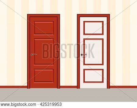 White And Red Door Against A Striped Wall. Doors In Office Or House.