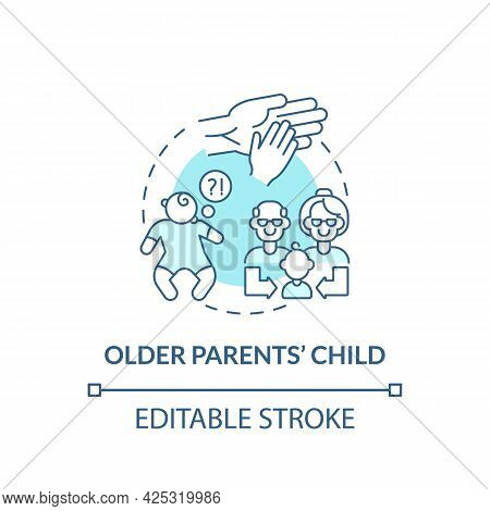 Older Parents Child Concept Icon. Autism Risk Factor Abstract Idea Thin Line Illustration. Postponin