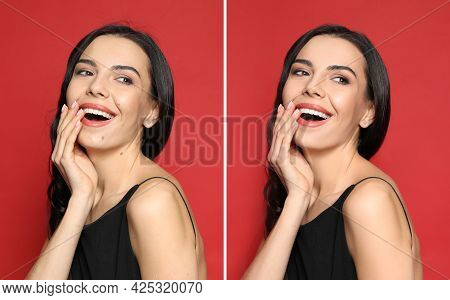 Photo Before And After Retouch, Collage. Portrait Of Beautiful Young Woman On Red Background