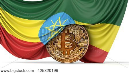 Ethiopia Flag Draped Over A Bitcoin Cryptocurrency Coin. 3d Rendering