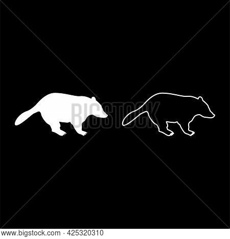 Badger Animal Wild Meles Taxus Predatory Mammal Family Kunihih Carnivore Silhouette White Color Vect