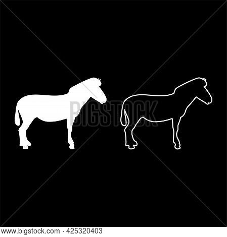 Zebra Stand Animal Standing Silhouette White Color Vector Illustration Solid Outline Style Simple Im