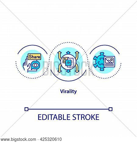 Virality Concept Icon. Popular Social Media Content. Business Strategy. Marketing Types Abstract Ide