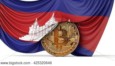 Cambodia Flag Draped Over A Bitcoin Cryptocurrency Coin. 3d Rendering