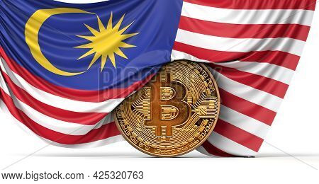 Malaysia Flag Draped Over A Bitcoin Cryptocurrency Coin. 3d Rendering