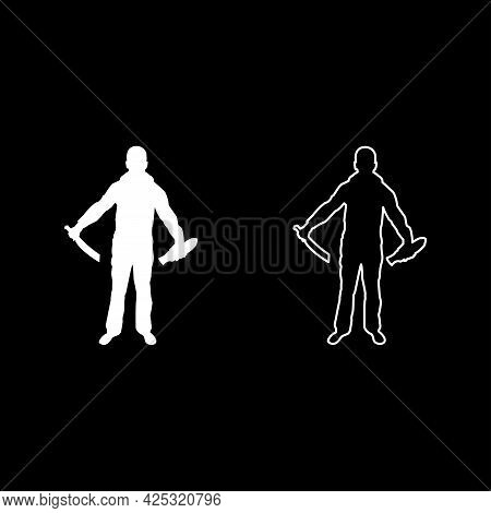 Man With Sword Machete Remove Sheath Scabbard Cold Weapons In Hand Military Man Soldier Serviceman I