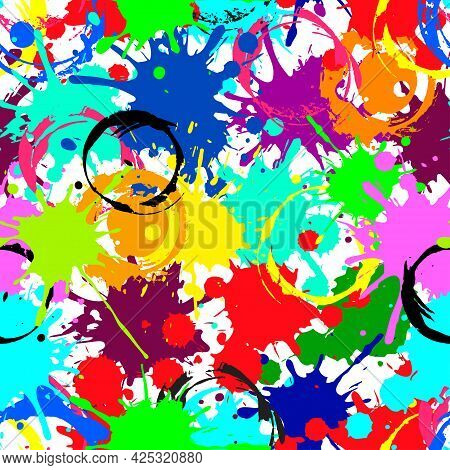 Color Ink Splashes Seamless Pattern. Grunge Splatters. Abstract Background. Grunge Text Banners