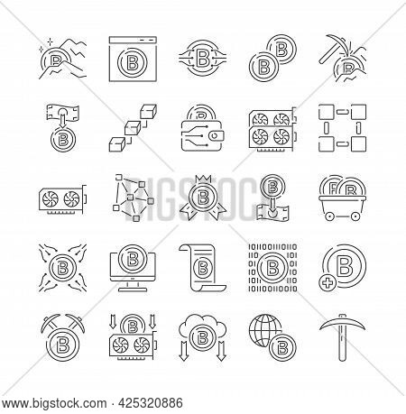 Collection Of Cryptocurrency Blockchain Financial Transaction Icons Showing Digital Transactions, Se