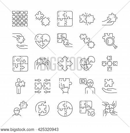 Large Set Of Black And White Puzzle Icons With Jigsaw Pieces Conceptual Of Problem Solving, Teamwork