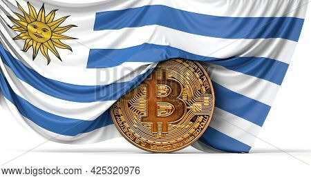 Uruguay Flag Draped Over A Bitcoin Cryptocurrency Coin. 3d Rendering