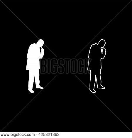 Man Poking In Nose Use Finger Male Cleans Nasal Passages Silhouette White Color Vector Illustration