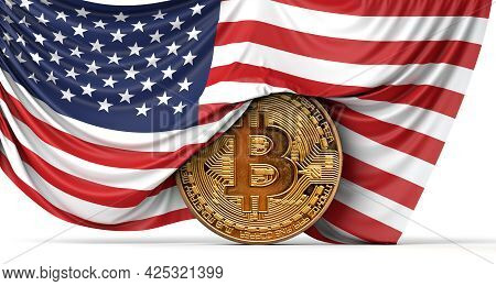 Usa Flag Draped Over A Bitcoin Cryptocurrency Coin. 3d Rendering