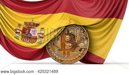 Spain Flag Draped Over A Bitcoin Cryptocurrency Coin. 3d Rendering