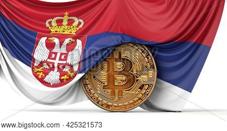 Serbia Flag Draped Over A Bitcoin Cryptocurrency Coin. 3d Rendering