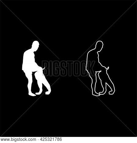 Man Dressing Pant Clothes Concept Put On His Trousers Silhouette White Color Vector Illustration Sol