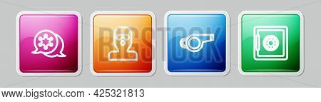 Set Line Hexagram Sheriff, Thief Mask, Whistle And Safe. Colorful Square Button. Vector