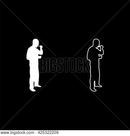 Man Trying Food From Spoon Standing Tasting Concept Gourmet Tries Dish Chef Trying Silhouette White
