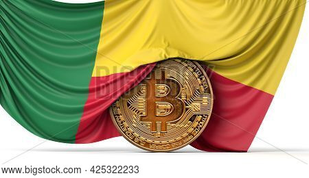 Benin Flag Draped Over A Bitcoin Cryptocurrency Coin. 3d Rendering