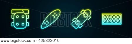 Set Line Knee Pads, Longboard Or Skateboard, Skateboard And Wheel. Glowing Neon Icon. Vector