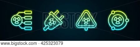 Set Line Radioactive, Radiation Electrical Plug, Triangle With Radiation And . Glowing Neon Icon. Ve