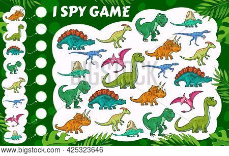 Cartoon Dinosaurs, I Spy Kids Game With Dino Reptiles, Vector Cartoon Find And Match Board Game. Kid