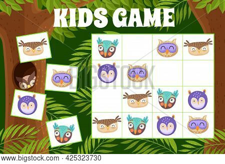 Sudoku Kids Game With Owls And Owlets, Vector Riddle With Cute Birds Cartoon Characters On Chequered