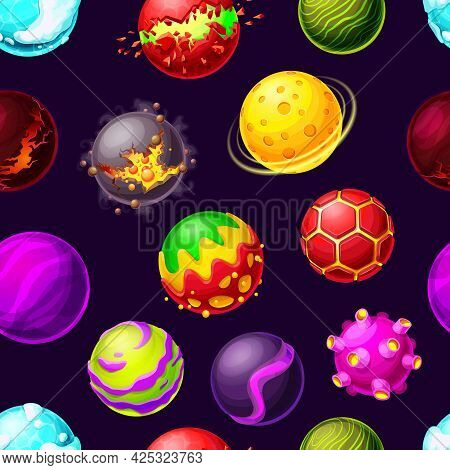 Cartoon Galaxy Planets And Space Stars Seamless Pattern. Vector Futuristic Background With Asteroids