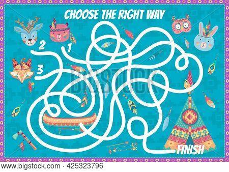 Kids Labyrinth Maze Game, Cartoon Indian Bear, Rabbit, Fox, Owl And Deer Animals. Vector Path Rebus