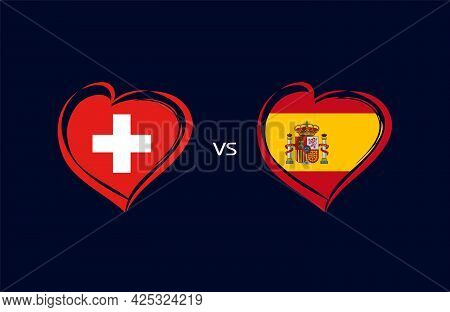 Switzerland Vs Spain, Flag Emblems. National Team Soccer Icons On Navy Blue Background. Swiss And Sp