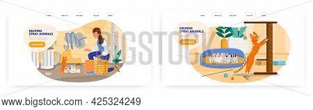 Volunteer Helping Stray Animals Landing Page Design, Website Banner Vector Template Set. Pet Care, R