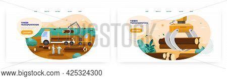 Timber Transportation Landing Page Design, Website Banner Vector Template. Loader Truck, Logs. Fores
