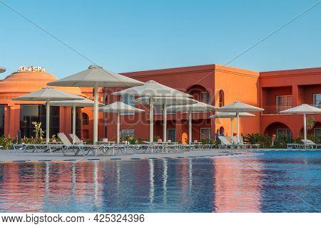 Sharm El Sheikh, Egypt - June 2, 2021: Pool With Reflection Of Hotel Albatros Laguna Vista Resort In