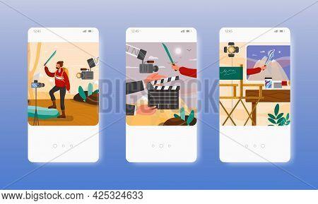 Chroma Key Filming. Green Screen Studio. Mobile App Screens, Vector Website Banner Template. Ui, Web