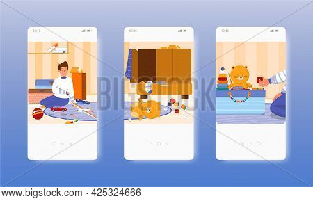 Messy And Clean Kids Room, Before After Cleaning. Mobile App Screens, Vector Website Banner Template
