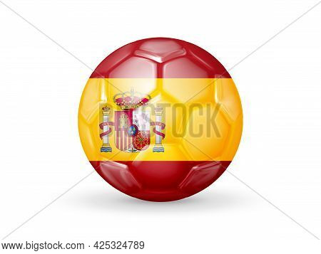 3d Soccer Ball With The Spain National Flag. Isolated On White. Realistic Vector Illustration