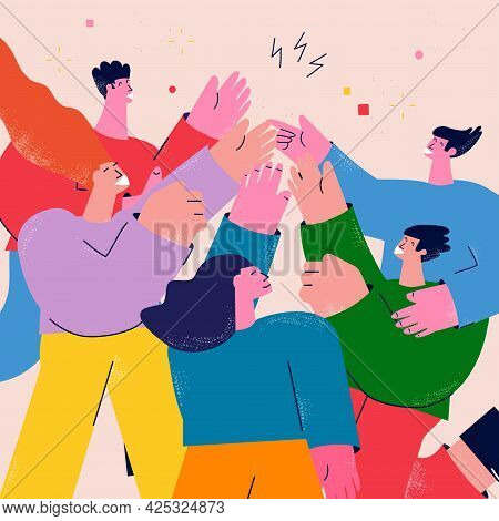 Teamwork, Friendship, Group Of People Giving High Five Flat Vector Illustration. Business Coworkers