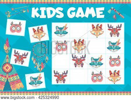 Kids Sudoku Game With Cartoon Indian Bear, Rabbit And Fox, Owl And Deer Animals, Vector. Sudoku Tabl