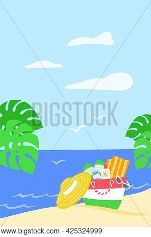 Summer Vacation Vertical Banner. Summer Bag With Beach Stuff In Sand And Palm Leaves On Tropical Isl