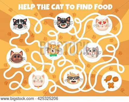 Cartoon Cats And Kittens Kids Game, Labyrinth Maze With Cute Pets Muzzles And Tangled Path. Vector E