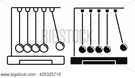 Linear Icon Of Newton Cradle. Balls Hanging On Strings. Studying Force Of Attraction In Physics Less