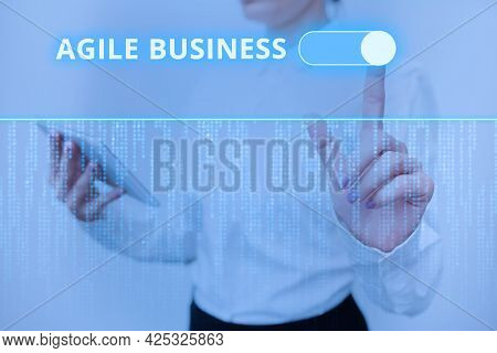 Text Sign Showing Agile Business. Concept Meaning Capability Of Adjusting Quickly To The Market S Is